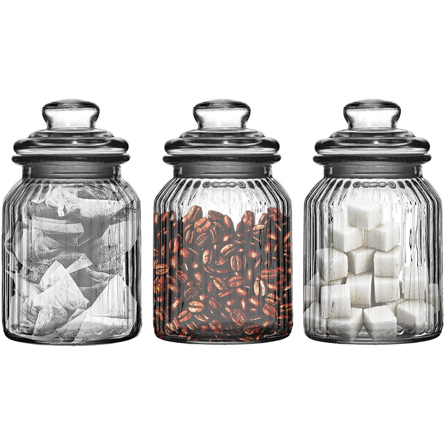 Kitchen Storage Canisters Set Of Three Storage Jars 990ml Ribbed Glass Tea Coffee Sugar