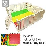 All Stars Parc bébé 8pièces XXL avec panneaux d'activité tapis de sol et 200 balles colorées Fabriqué avec matériaux non toxiques