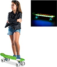 Relaxdays Skateboard LED-Beleuchtung, Kinder Mini Cruiser 22 Zoll, ABEC 7 Alu-Trucks, Gummi Wheels, verschiedene Farben