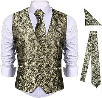 iClosam Men's 5-Buttons Floral Jacquard Waistcoat&Necktie Pocket Square Paisley Vest Suit Set