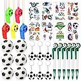 HOWAF Artículos de Fiesta fútbol Cumpleaños Niños, 31 Piezas fútbol silbatos fútbol Llavero bolígrafos de Gel balones fútbol