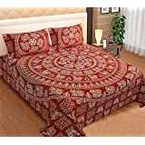 Shopbite 330 TC 100% Cotton Double Bed Jaipuri Printed Bedsheet with 2 Pillow Covers (Red)