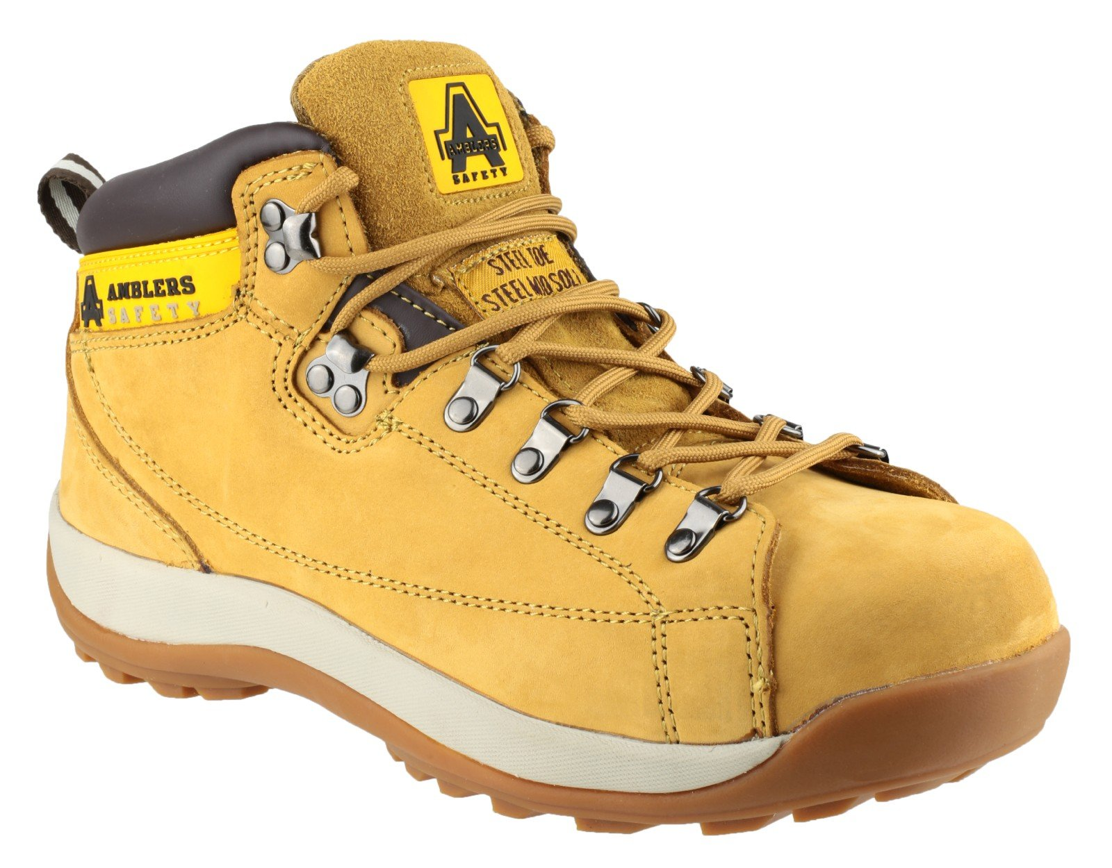 Amblers Steel Lace-Up Textile Lined Mens Boots - Honey - Size 11