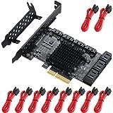 MZHOU PCI-E SATA uitbreidingskaart, 10-poorts PCI Express SATA Controller Card, 6 Gbit/s SATA 3.0 PCIe Card met 10 SATA kabel