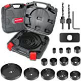 Hole Saw Set HYCHIKA 19 Pcs Hole Saw Kit with 13Pcs Saw Blades, 2 Mandrels, 2 Drill Bits, 1 Installation Plate, 1 Hex Key, Ma
