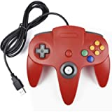 miadore - Controller N64 Gamepad, controller di gioco console 64 N64 USB Gamepad Joystick per Windows PC Mac (rosso)