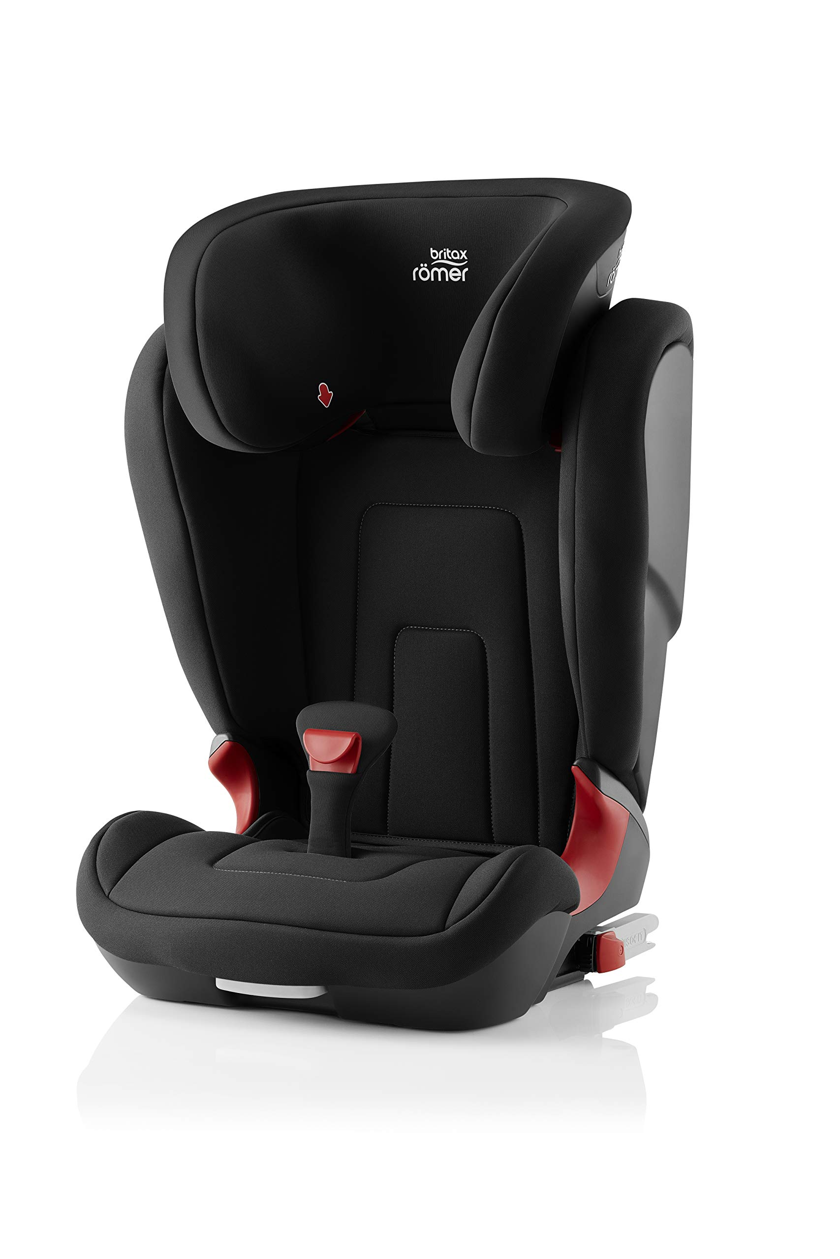 Britax Römer car seat 15-36 kg, KIDFIX 2 R Isofix group 2/3, Cosmos Black Britax Römer Secure guard - helps to protect your child's delicate abdominal area by adding an extra - a 4th - contact point to the 3-point seat belt. High back booster - protects your child in 3 ways: provides head to hip protection; belt guides provide correct positioning of the seat belt and the padded headrest provides safety and comfort. Easy adjustable v-shaped backrest - designed to give optimum support to your growing child, the v-shaped backrest provides more space for their back and shoulders. 1