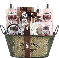 BRUBAKER Cosmetics Bade- und Dusch Set Kokosnuss & Erdbeer Duft - 10-teiliges Geschenkset in Vintage Wanne