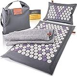 High Pulse Tapis d'acupression Eco incl. sac + poster - Matelas et oreiller d'acupression avec des aimants en fibres naturell