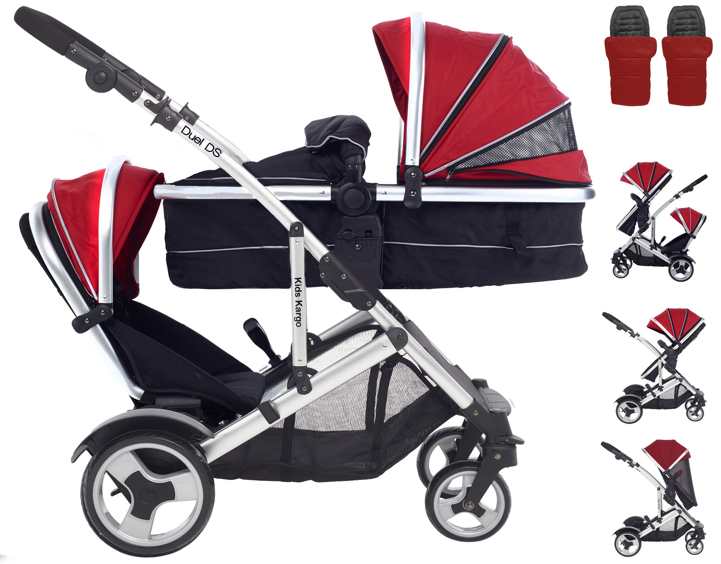 Kids Kargo Duel DS R. Includes 2 Footmuffs & 2 Rain-Covers. Red Double Tandem Pushchair Kids Kargo Suitable for newborns. Includes seat unit for toddler and carrycot. the carrycot when converted to seat unit, can be rear or forward facing. In-built suspension, adjustable handle, complete with rain covers. 1