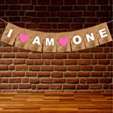 WOBBOX First Birthday Party Banner ( I am One ) Pink , Party Decoration Set of one