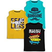 minicult Printed Cotton Jersey Vest for Boys and Girls (Multicolor)