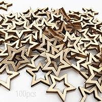 inherited 100 pcs étoiles en Bois, Fini en Forme D'étoile Creuse Embellissement en Bois pour Artisanat Décoration de…
