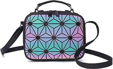 Suuran Geometrische Umhängetasche Holografische Geldbörsen und Handtaschen für Damenmode, leuchtende Umhängetasche mit Hologramm-Umhängetasche und Griff oben Blitz reflektierend