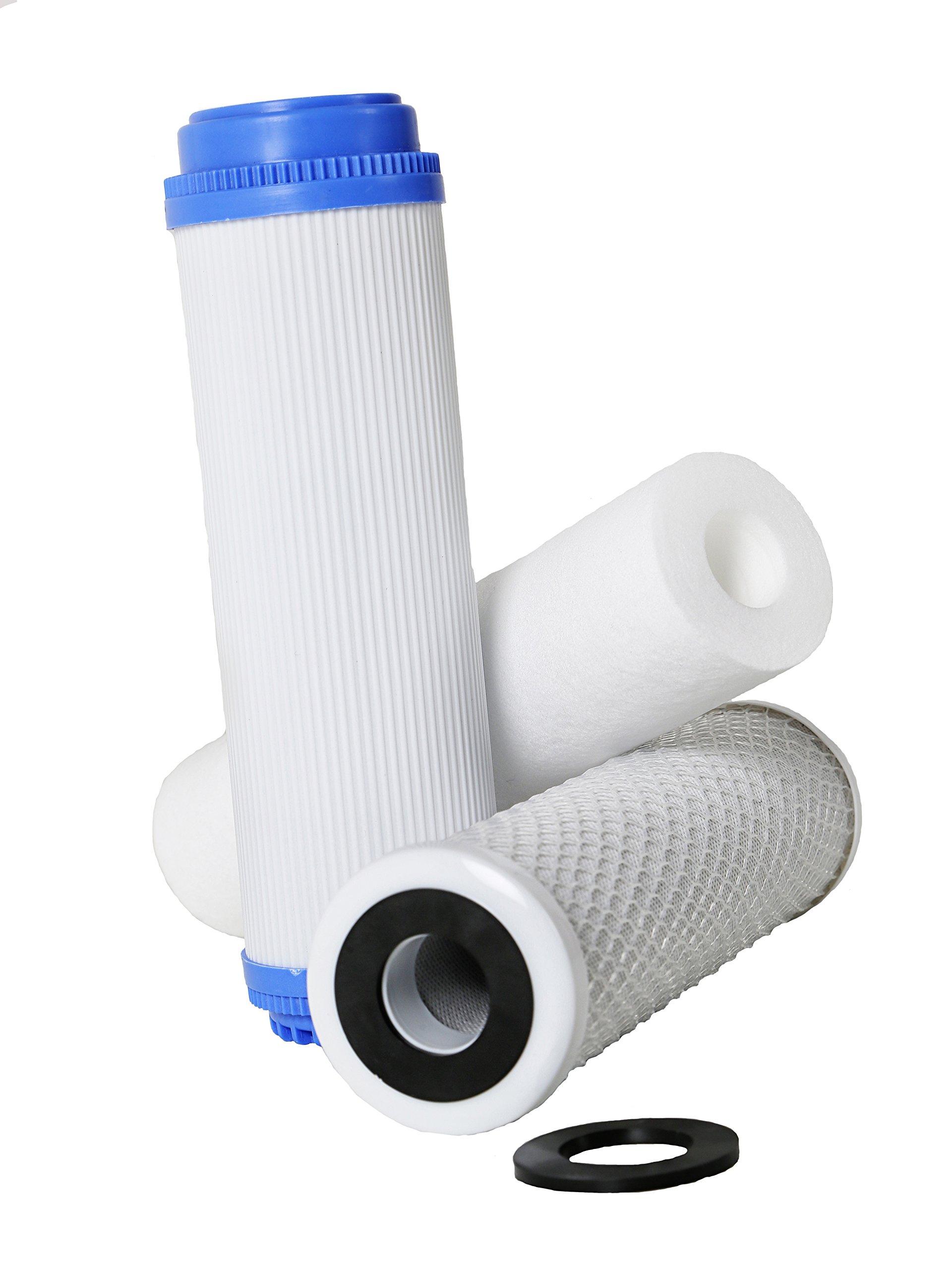 Filtro Ósmosis Inversa 3 etapas, Estándar, Profesional, Garantizado, Compatible con todos los sistemas de ósmosis con vasos del mercado