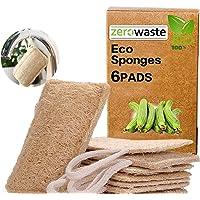 Eponge Loofah éponge végétale de luffa de qualité supérieure, Éponges à vaisselle 6 Pièces,lavable réutilisable…