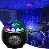 Led Sternenhimmel Projektor,Galaxy Projector Light mit Musikspieler& Wasserwellen&Bluetooth,Ferngesteuerte Nachtlichter für K