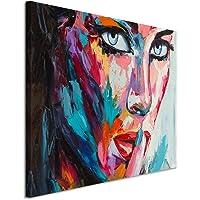 Paul Sinus Art XXL Fotoleinwand 120x80cm Buntes modernes Ölgemälde – Frau mit blauen Augen auf Leinwand Exklusives…