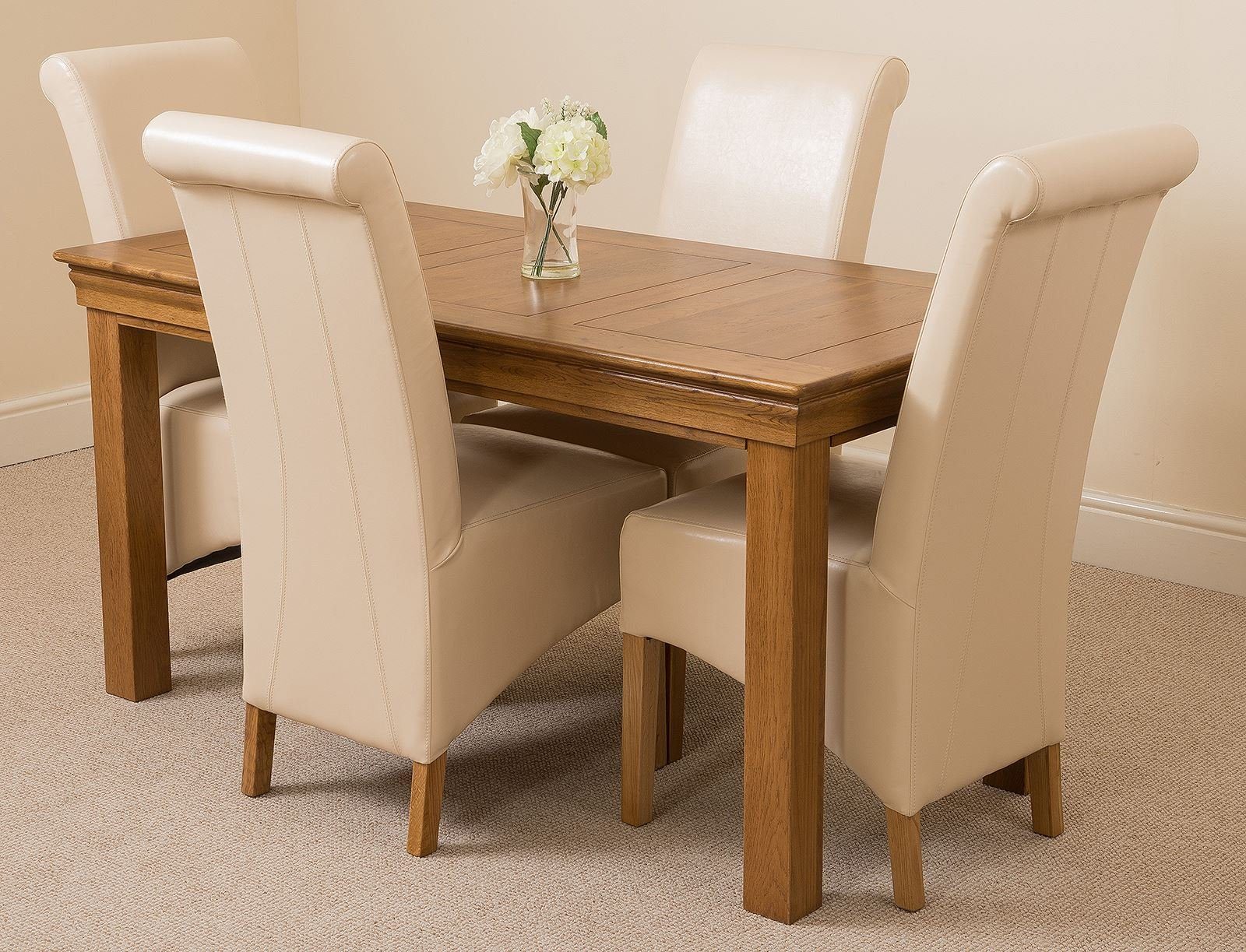 81Bd6o37vDL - French Rustic Solid Oak 150 cm Dining Table with 4 or 6 Montana Dining Chairs