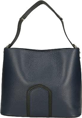 Chicca Borse Shoulder Bag Borsa a Spalla da Donna in Vera Pelle Made in Italy - 25x22x12 Cm
