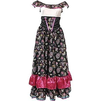 478054e9452d Jour des Morts Outfit - Comprend la robe mexicaine Senorita, Voile et Gants  noirs longs