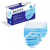 Bildos Non-Woven Fabric Disposable Surgical Mask (Blue, Without Valve, Pack of 50) for Unisex Adult