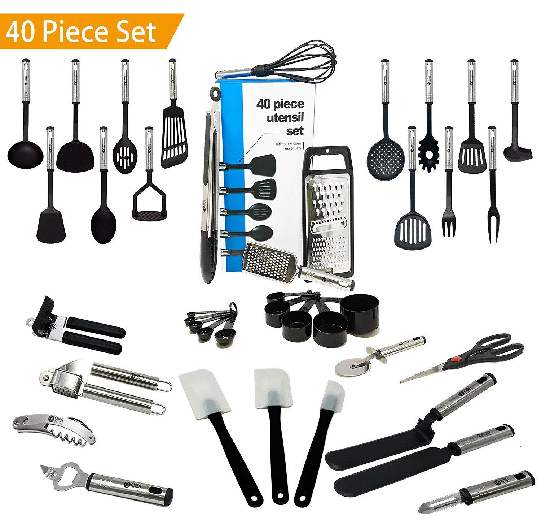 Essential 40 Piece Kitchen Utensil Cookware Set - Nylon Stainless ...