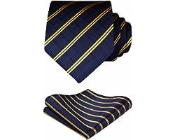 BIYINI Cravatta Uomo a Quadri Scozzese e Fazzoletto Elegante Cravatta Set di Cravatte Classiche per il Matrimonio Festa Lavor