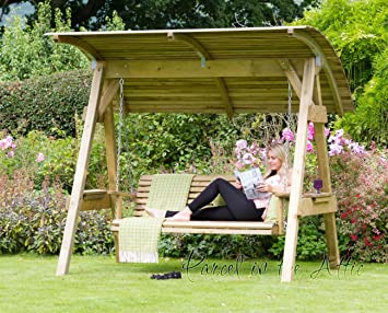 Alicante 3 Seat Wooden Garden Swing Chair with Canopy - Hammock Bench Furniture Lounger - 10 : 3 seater garden swings with canopy - memphite.com