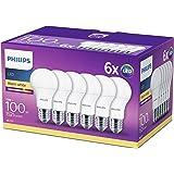 Philips Lot de 6 Ampoules LED Standard Culot E27, 13W équivalent 100W, Blanc Chaud 2700K, Dépolie