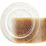 100 طبق بلاستيكي ذهبي من ليسير - أطباق ذهبية لامعة قابلة للاستعمال مرة واحدة - أطباق للسلطة/الحلوى البلاستيكية الفاخرة مقاس 1