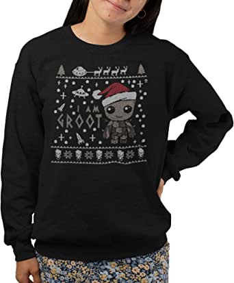Black,S I Am Groot Xmas Jumper Guardians of The Galaxy Christmas Spoof Jumper Top