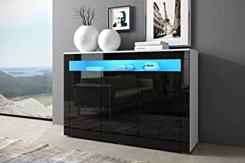 Sideboard schwarz matt  Kommode SOFIA Sideboard Highboard mit Türen Mit LED !!! (weiß matt ...