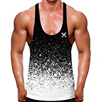 Get Down Speckled White and Black Dip Dye Fade Muscle Fit Tank Top - Abstract Gradient Allover Print - Gym Wear Men…