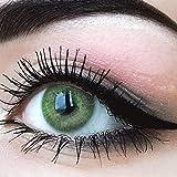 Glamlens lentilles de couleur vert naturelles colorées très haute opacité Jasmine Green + étuis à lentilles de contact I 1 pa