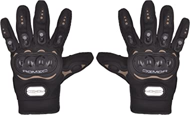 Romic Leather Motorcycle Full Gloves (Black, XXL)