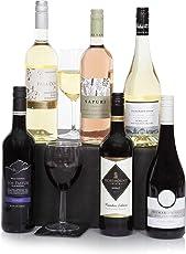 Sechs Flaschen ausgewählte Wein - Weinkiste inklusive Premium Rot-, Weiß- & Roseweine - Wein-Präsentkorb