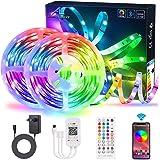 Tiras de LED Bluetooth 20M/65.6Ft 600 de luz LED con control de aplicaciones, ALED LIGHT Music Sync Bright 5050 Tiras de luce