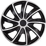 NRM QUAD 13 BI Copricerchi Universali, 13', Bicolore Nero / Silver (set di 4)