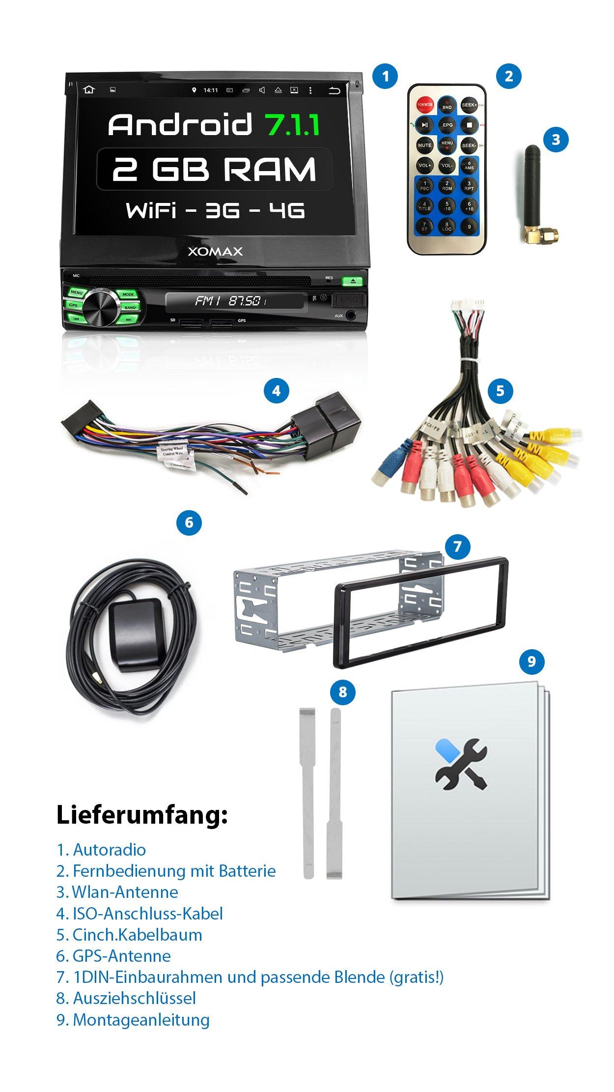XOMAX-XM-DA708-Autoradio-mit-Android-711-2GB-RAM-Quad-Core-I-WiFi-3G-DAB-OBD2-Support-I-GPS-Navigation-Bluetooth-I-7-18-cm-Touchscreen-I-DVD-CD-USB-SD-I-1-DIN