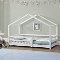 [en.casa] Lit d'enfant Maison avec Barreaux de Sécurité Pin Naturel 70 x 140 cm Blanc Mat Laqué
