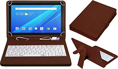 ACM USB Keyboard Case for Lenovo Tab4 10 Tablet Cover Stand with Free Micro USB OTG - Brown