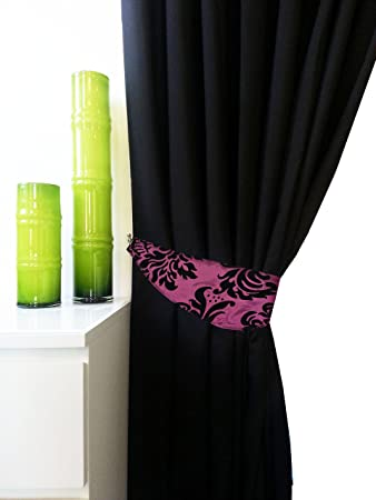 Green Curtains black and green curtains : FLOCK DAMASK FULLY,LINED EYELET CURTAINS BLACK PURPLE 3 SIZE ...