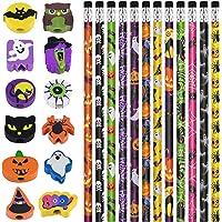 PLULON 24 Stück Halloween Bleistifte Großpackung mit 24 Stück Radiergummi Bunte Holzstifte Cartoon Halloween Geschenke…