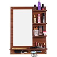 Captiver Engineered Wood Bellezza Wooden Wall Mounted Dressing Table Stands 80X60X13 cm in Classic Walnut Color