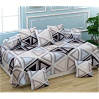 BROMWICK Triangle Printed Microfiber Diwan Set 8 Pieces, 1 Single bedsheet, 5 Cushions Covers and 2 Bolster Covers-Gray