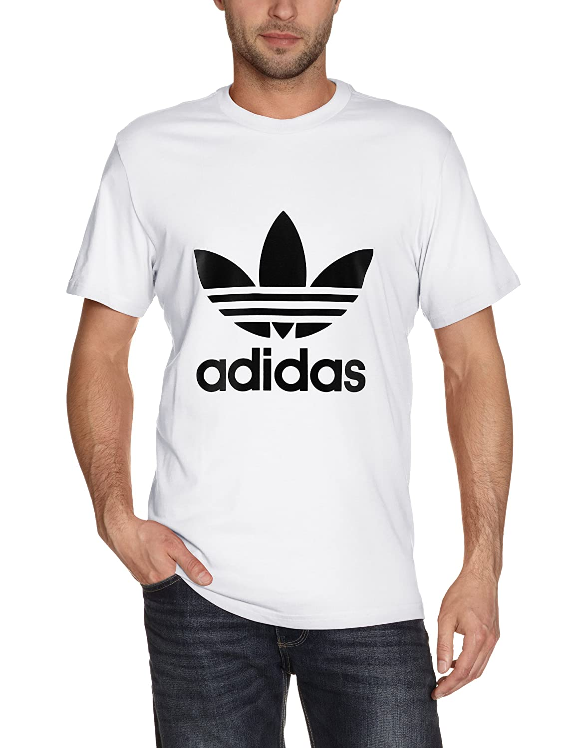 White adidas t shirt l d for Adidas lotus t shirt