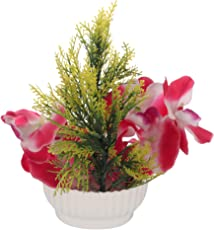 CAAJIB Lucky Charm Artificial Flower Plant with Vase Pot for Home Décor Decorative Flowers, Height 21 cm, Pink & Green