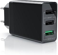 CSL - USB Ladegerät 30W QC 3.0 | 3-Port Netzteil inkl. Quick-Charging ( Schnellladefunktion ) | Smart Charge + Solid Charge (intelligentes Laden) | geeignet für Handys, Smartphones, Navis, Tablets uvm. | schwarz
