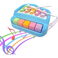 Popsugar 2 in 1 Xylophone and Piano Toy with Colorful Keys for Toddlers and Kids, Blue